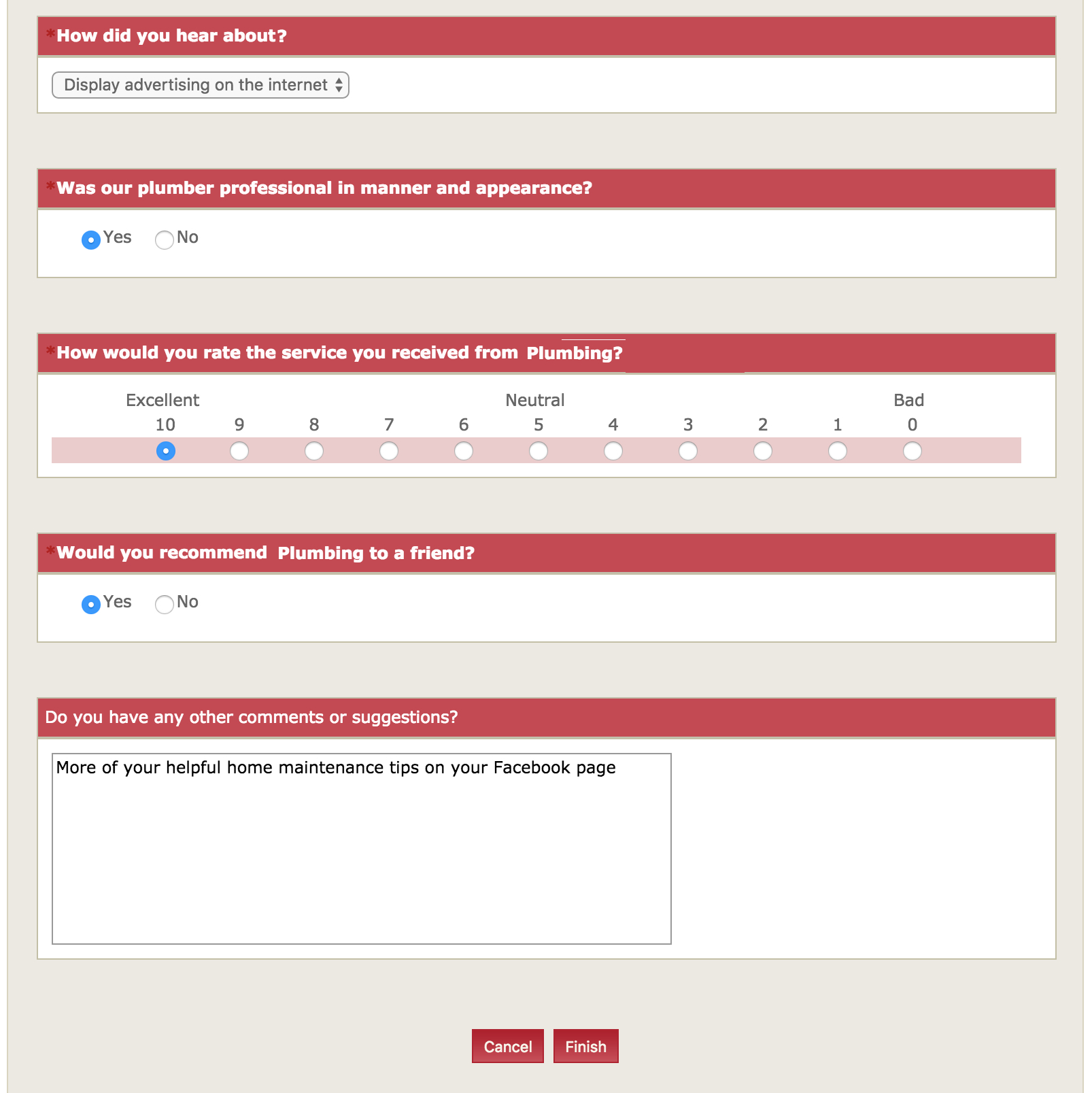 Survey example without company name