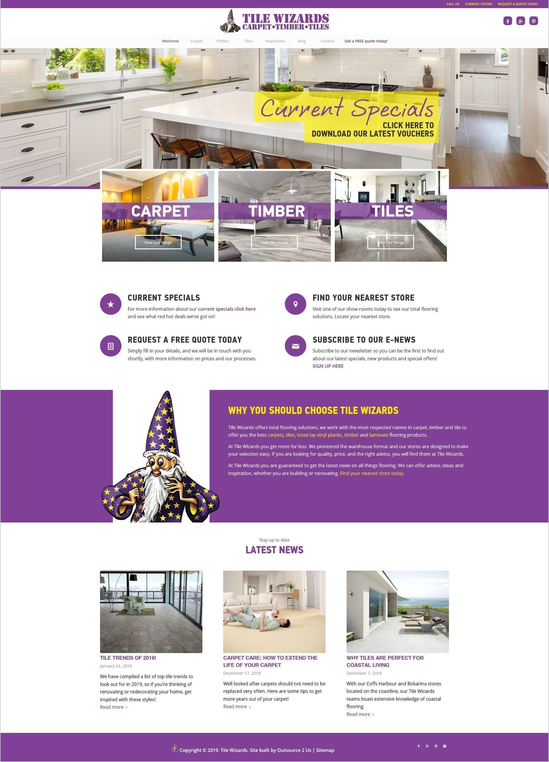Tile Wizards Website - O2Us